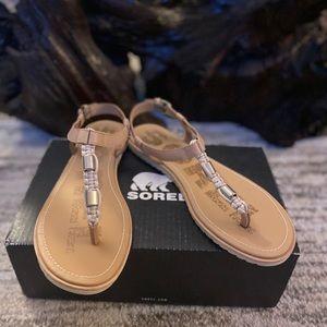 New Sorel Ella T Strap Sandals, Sz. 10.5, NIB